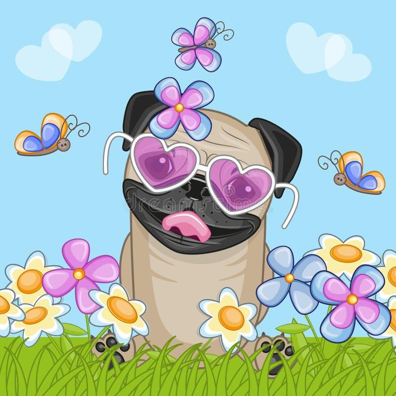 Pug-Hund mit Blumen stock abbildung