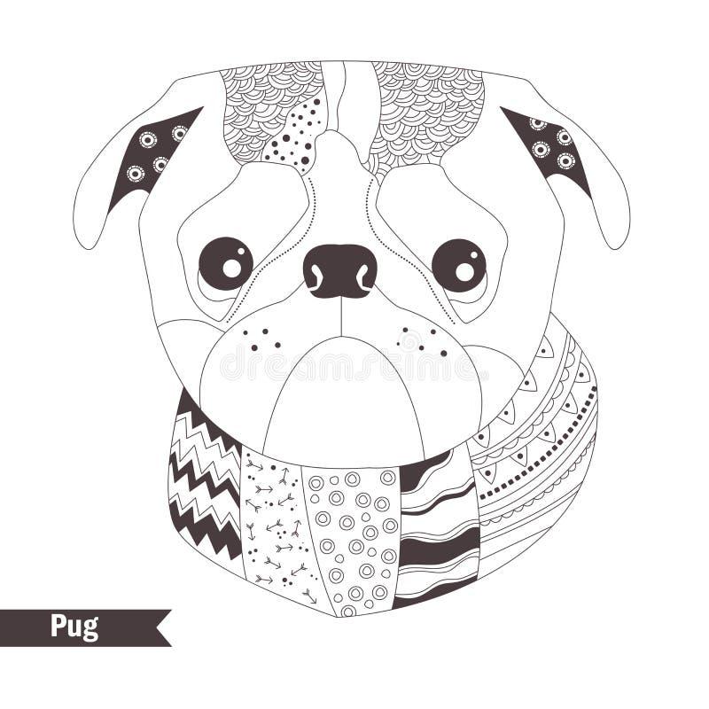 Pug Livro de coloração ilustração do vetor