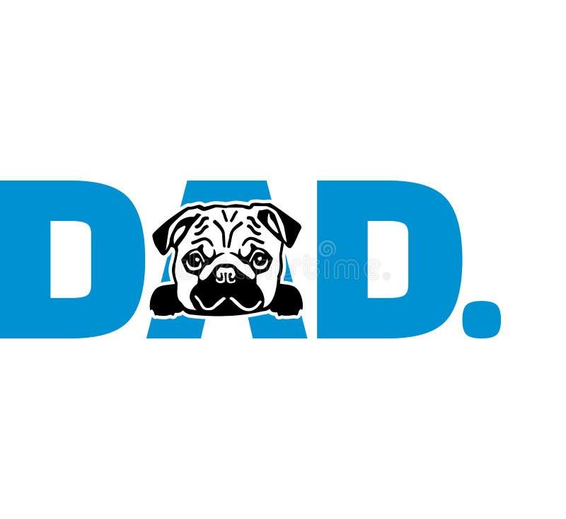 Pug papa in blauw vector illustratie