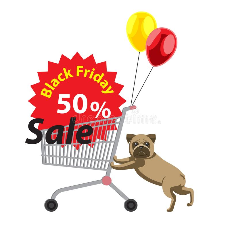Pug pushing cart discounts black Friday with tied balloons. Cartoon style. The design element is. Vector image vector illustration