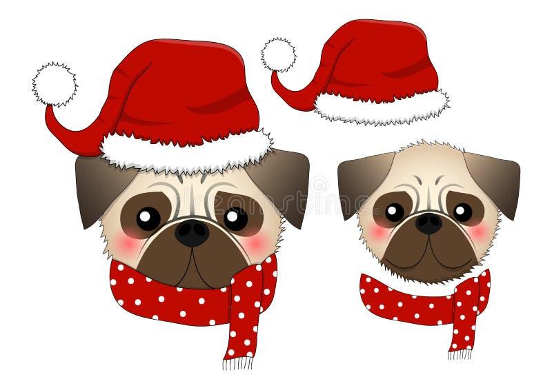 Pug Santa Claus Dog mit rotem Schal Getrennt auf weißem Hintergrund Auch im corel abgehobenen Betrag vektor abbildung