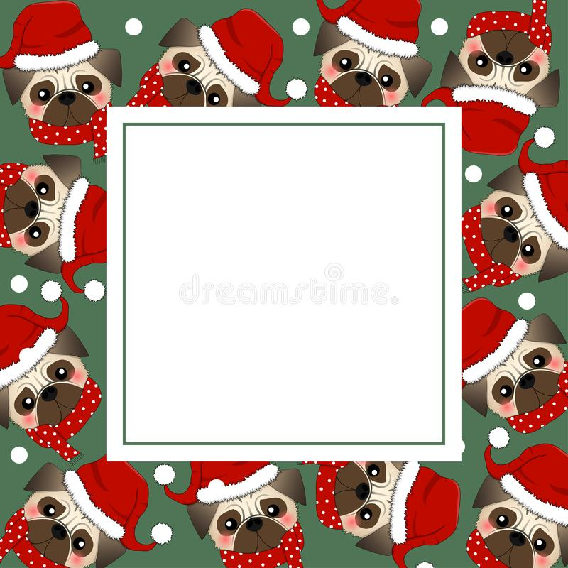 Pug Santa Claus Dog with Red Scarf on Green Banner Card. Vector Illustration. stock illustration