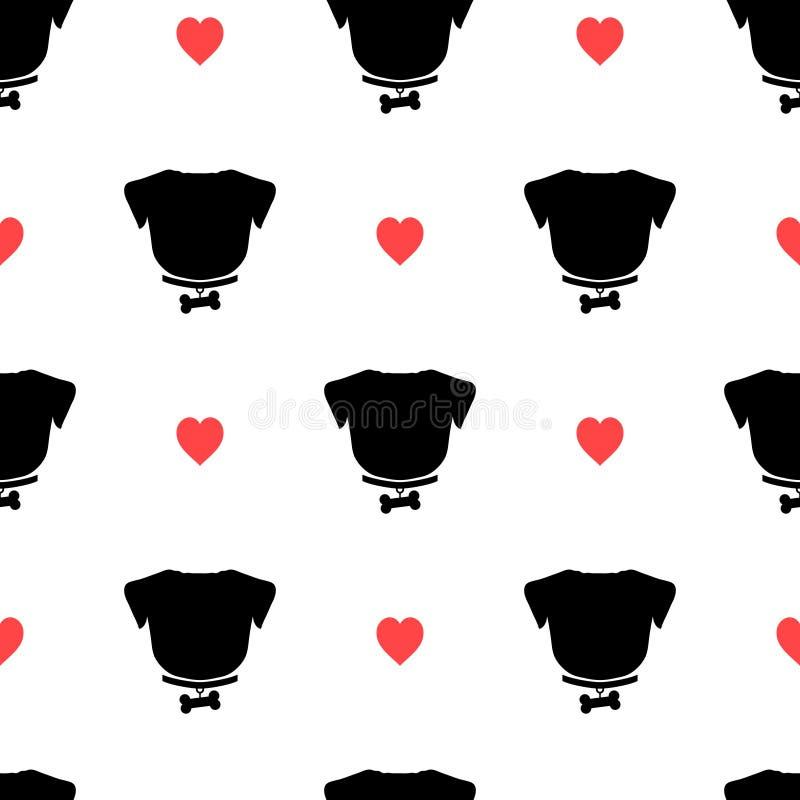 Pug silhouet met been op de kraag en het roze hart naadloze patroon royalty-vrije illustratie