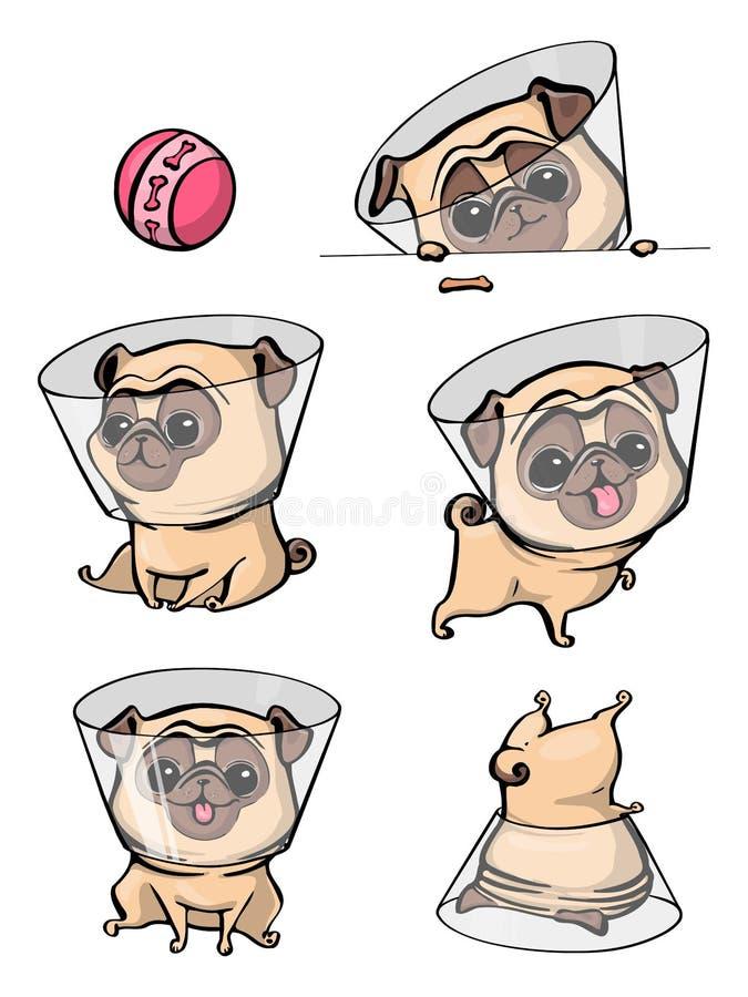 Pug van het beeldverhaalkarakter de hond stelt Leuke Huisdierenhond in de vlakke stijl Vastgestelde honden stock afbeelding