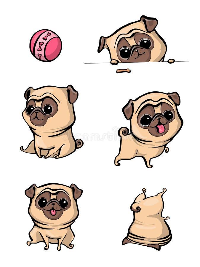 Pug van het beeldverhaalkarakter de hond stelt Leuke Huisdierenhond in de vlakke stijl Vastgestelde honden Leuke hond van pug ras royalty-vrije stock afbeelding