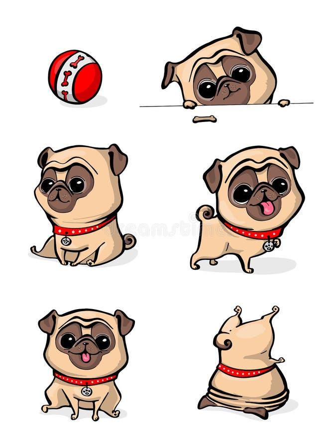 Pug van het beeldverhaalkarakter de hond stelt Leuke Huisdierenhond in de vlakke stijl Vastgestelde honden Leuke hond van pug ras stock illustratie