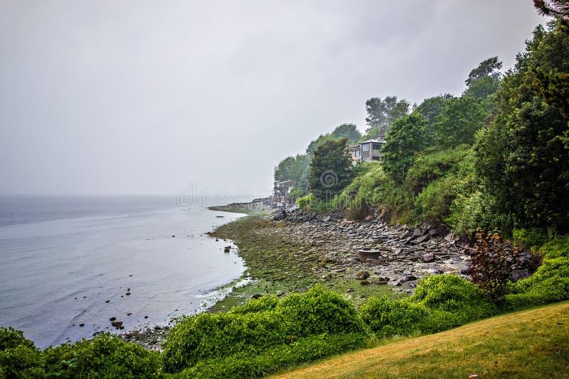 Pugetgeluid waterscape en kustlijn in de staat van Washington royalty-vrije stock foto's