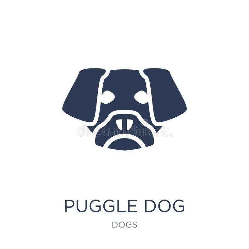 Puggle狗象 在白色bac的时髦平的传染媒介Puggle狗象 向量例证