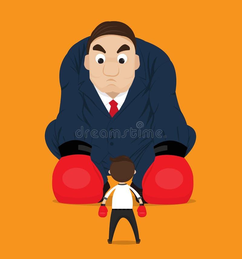 Pugilato dell'uomo d'affari contro un grande capo illustrazione di stock