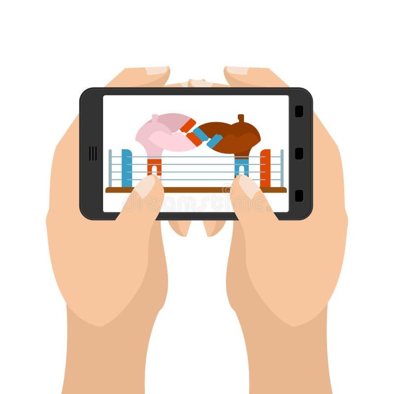 Pugilato sul gioco della compressa Sport in smartphone Aggeggio della tenuta delle mani royalty illustrazione gratis