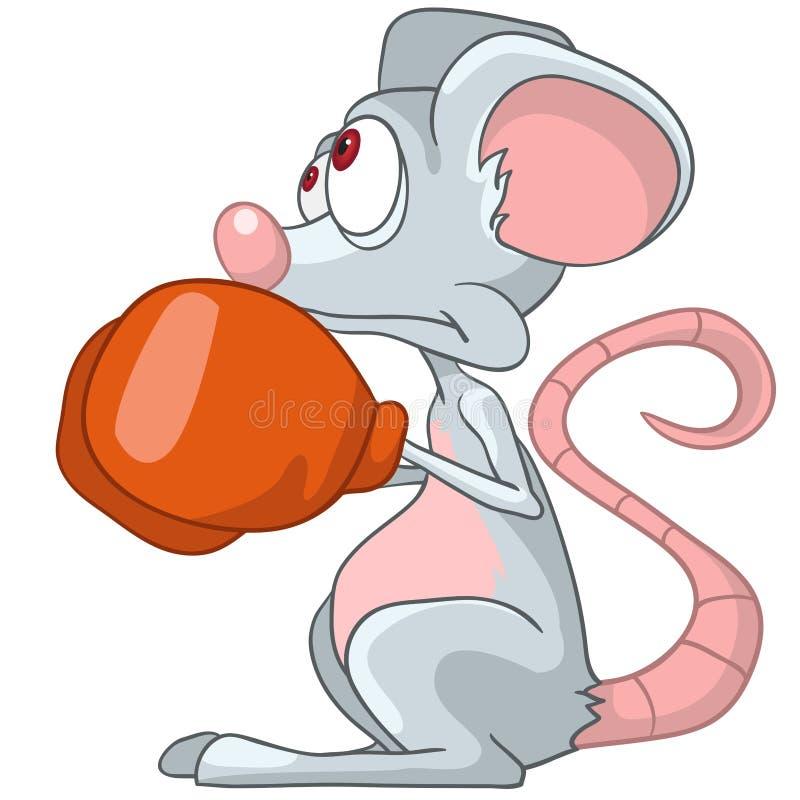 Pugile del mouse del personaggio dei cartoni animati illustrazione di stock