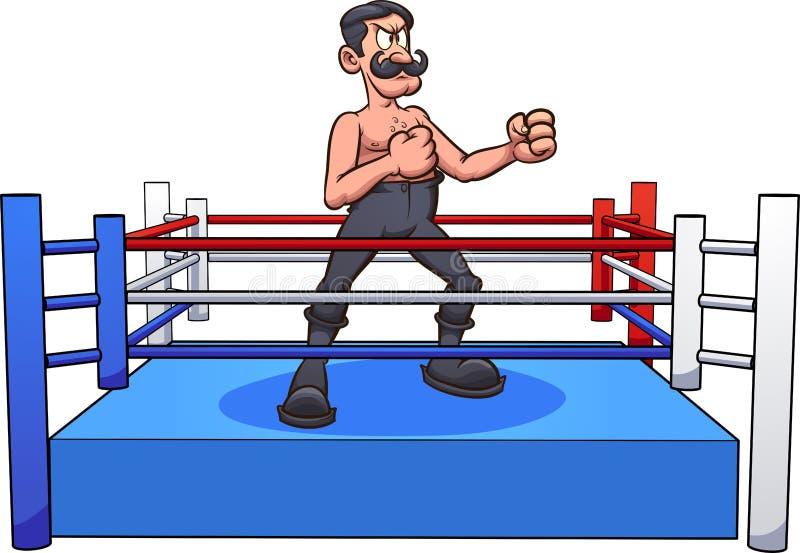Pugile maschio del retro fumetto con i baffi della barra della maniglia su un ring illustrazione di stock
