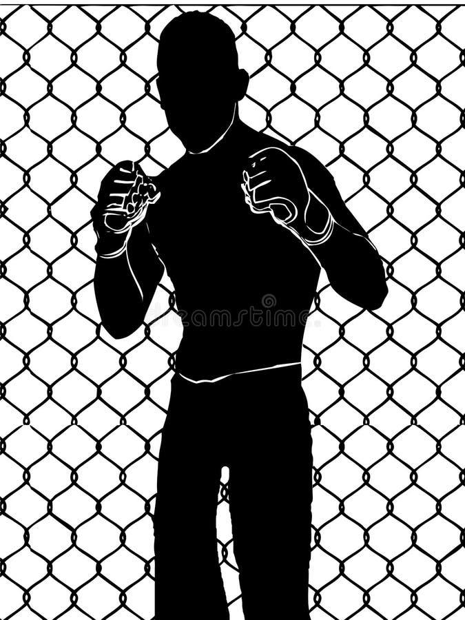 Pugilista com as luvas de encaixotamento sem cor preta, ilustração de combate da cara ilustração royalty free