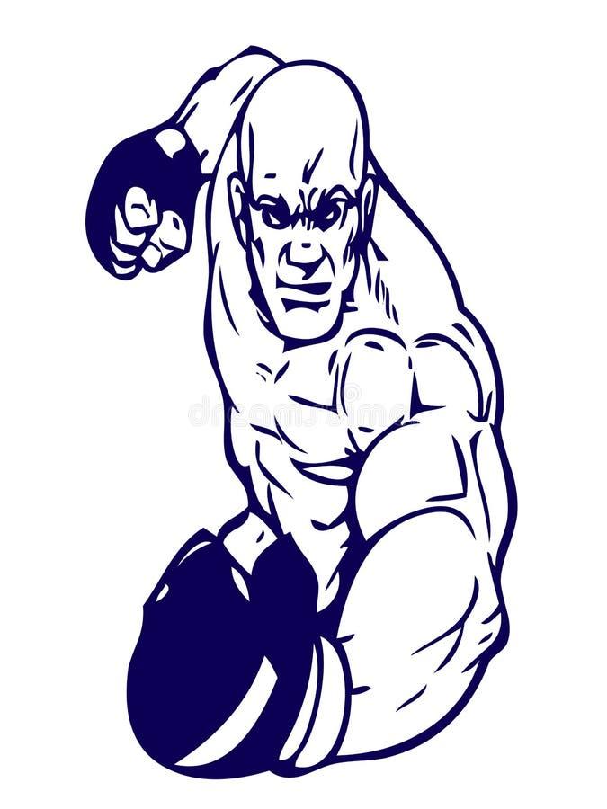 Pugilista com luvas de encaixotamento, ilustração ilustração do vetor