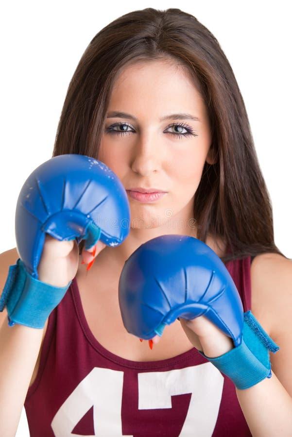 Pugilista fêmea pronto para lutar fotografia de stock
