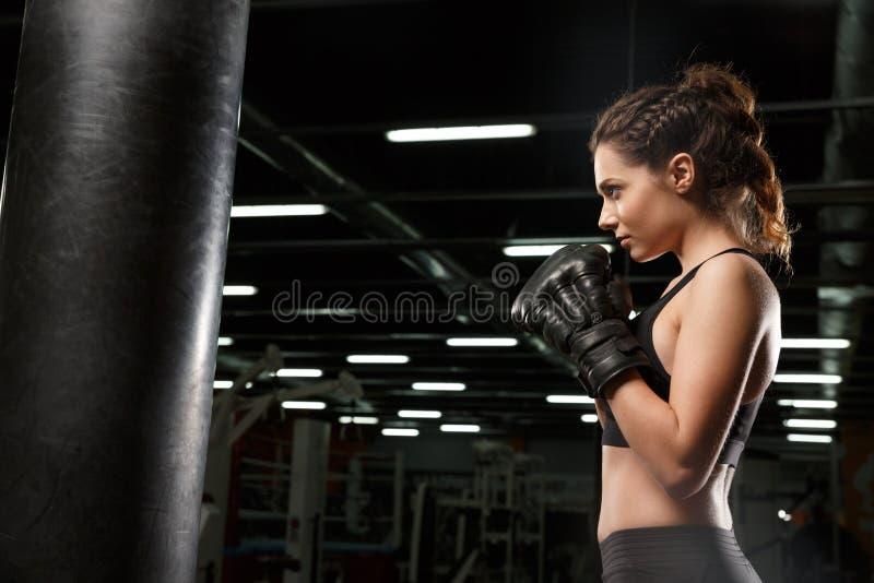 Pugilista forte novo concentrado da senhora dos esportes fotografia de stock royalty free