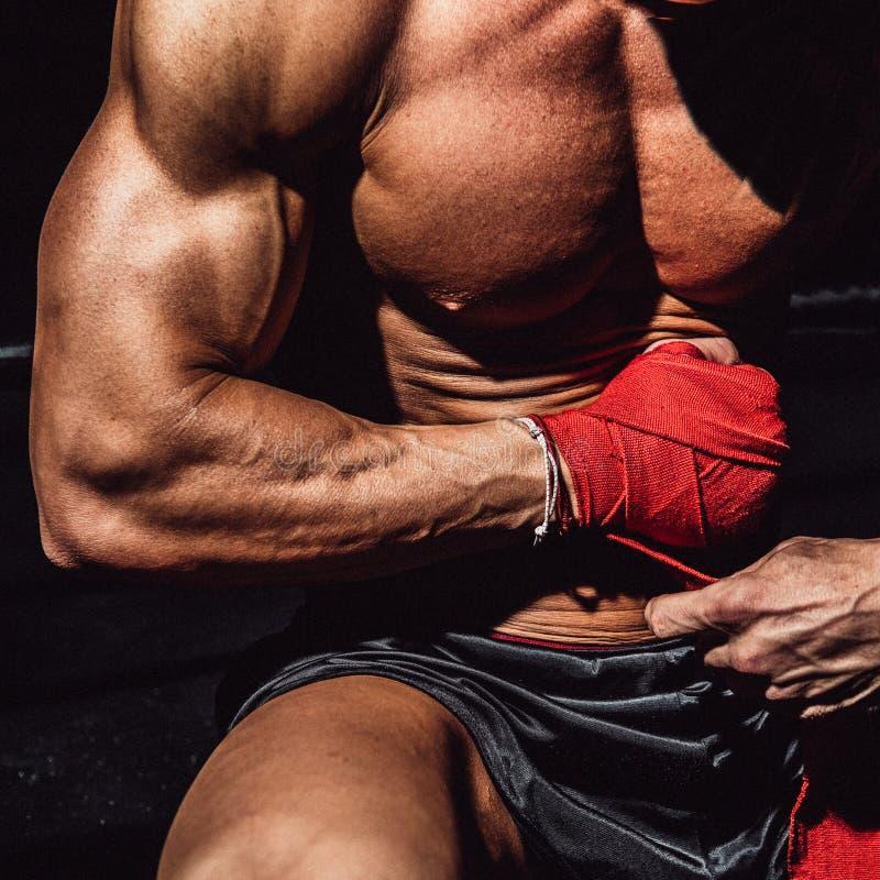 Pugilista masculino com o corpo perfeito que prepara-se para a luta e as luvas vestindo de formação imagem de stock royalty free