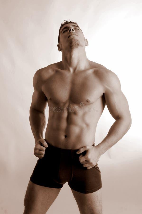 Pugilista masculino em troncos pretos fotografia de stock royalty free