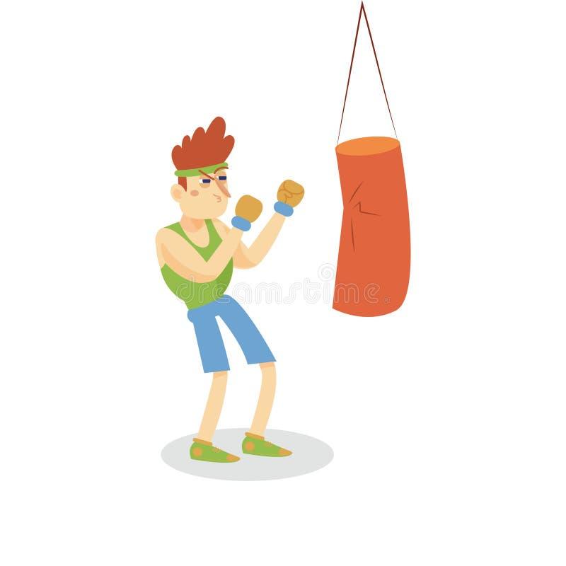 Pugilista que batem um saco de perfuração, homem que dão certo no clube de aptidão ou gym, vetor saudável ativo dos desenhos anim ilustração stock
