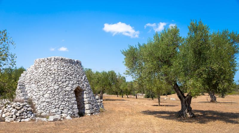 Puglia Region, Italy. Traditional warehouse made of stone. In Salento area, south of Italy, a traditional rural warehouse named Furnieddhu in local dialect. It`s royalty free stock photography