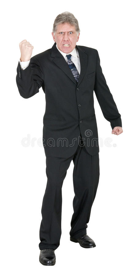 Pugno arrabbiato medio dell'uomo d'affari isolato su bianco fotografia stock
