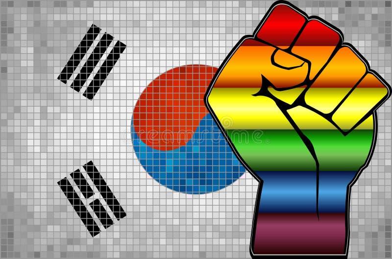 Pugno brillante di protesta di LGBT su una bandiera della Corea del Sud illustrazione di stock