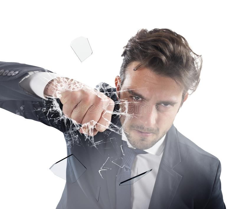 Pugno dell'uomo d'affari determinated immagine stock