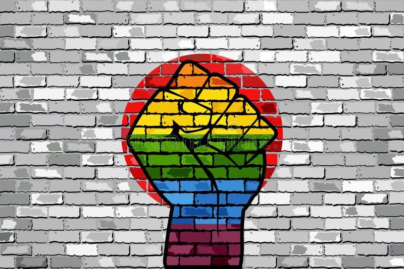 Pugno di protesta di LGBT su una bandiera del muro di mattoni del Giappone illustrazione di stock
