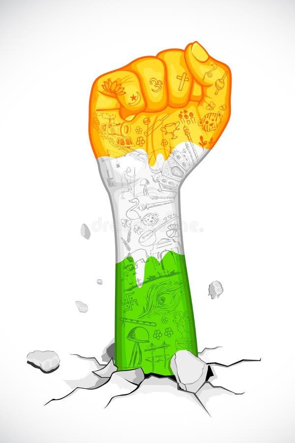 Pugno in Tricolor indiano illustrazione vettoriale