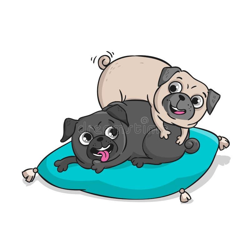 Pugs bonitos Ilustração tirada mão dos desenhos animados do vetor ilustração royalty free