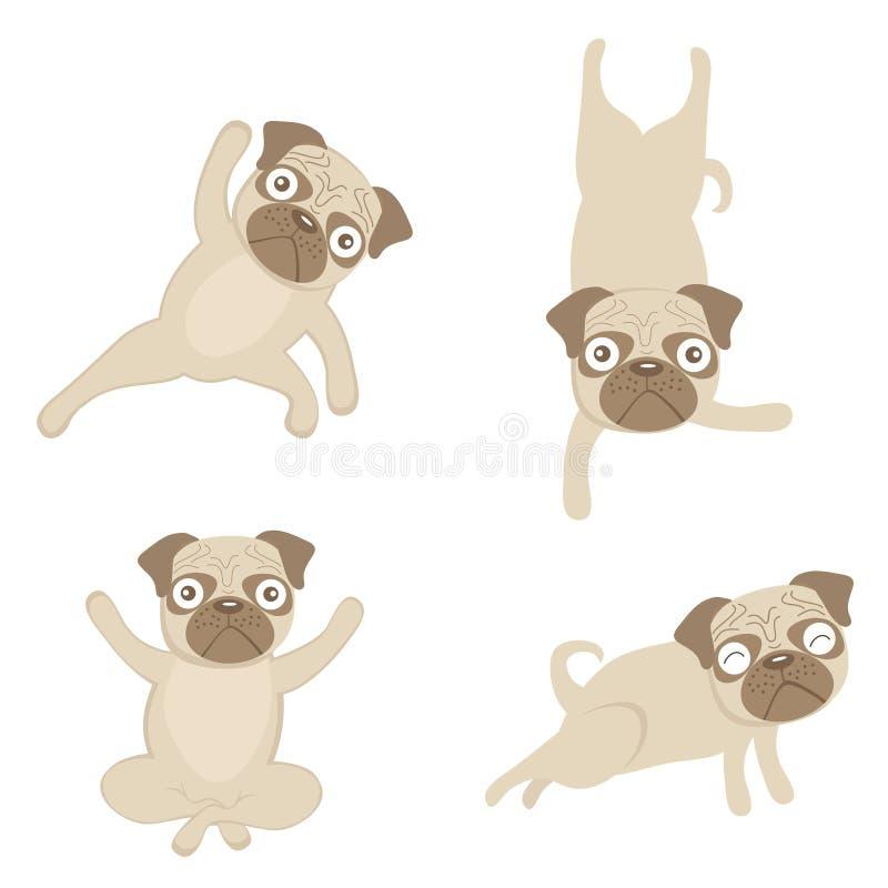 Pugs da ioga ilustração royalty free