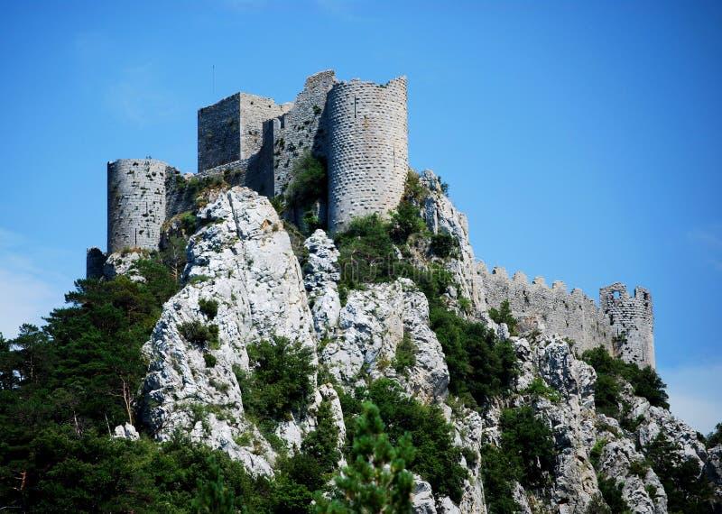 Puilaurens kasztel w południe Francja zdjęcie stock