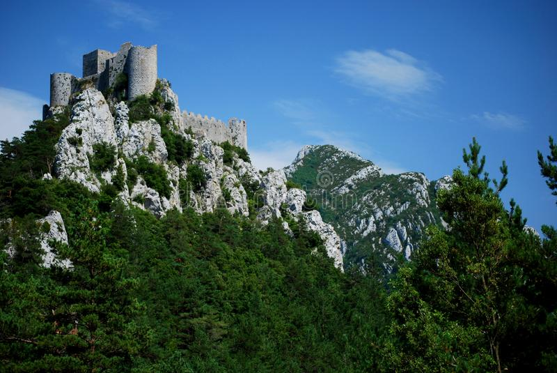 Puilaurens kasztel w południe Francja obrazy stock