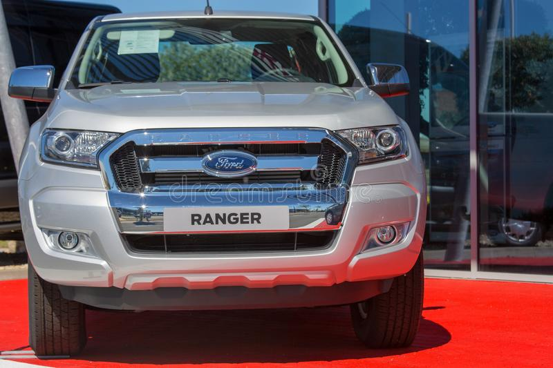 Grey ford rager car on display stock photo
