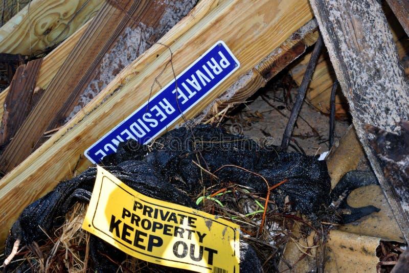 Puin van Orkaan Irma in Florida stock afbeelding