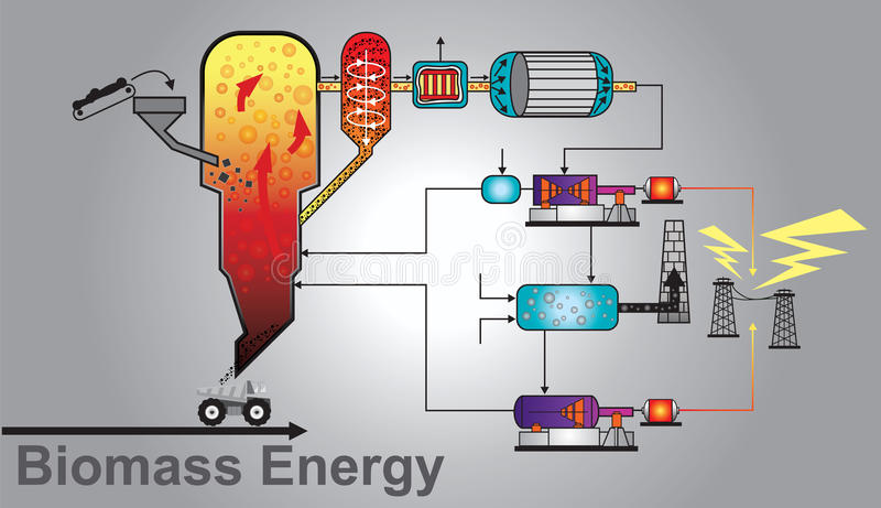 Puissance d'énergie de biomasse Vecteur de graphique d'infos d'éducation illustration stock