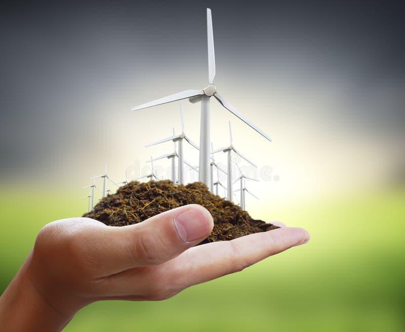 Puissance d'Eco, turbines de vent à disposition illustration de vecteur
