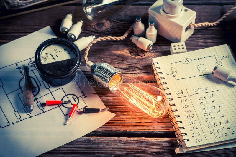 Puissance d'essai par l'ampoule dans le laboratoire de physique photo stock