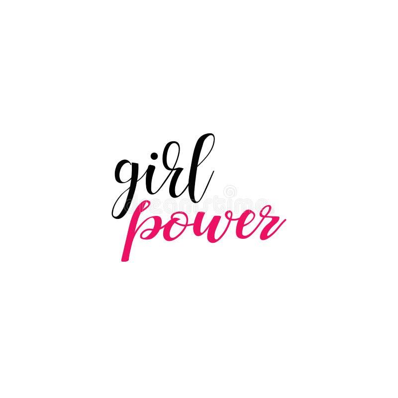 Puissance de fille Citation du féminisme, slogan de motivation de femme lettrage Conception de vecteur illustration libre de droits