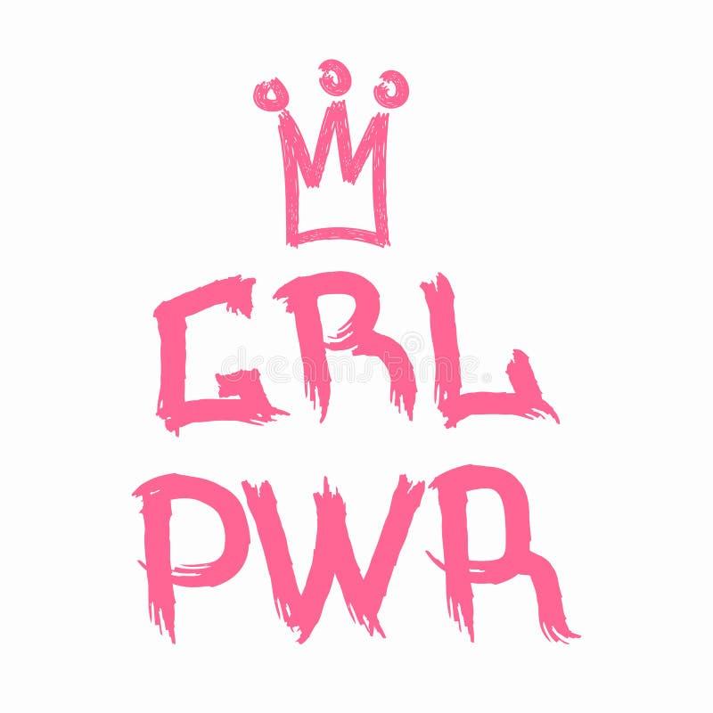 Puissance de fille d'inscription avec la couronne peinte avec la brosse d'aquarelle Style grunge Illustration de vecteur illustration stock