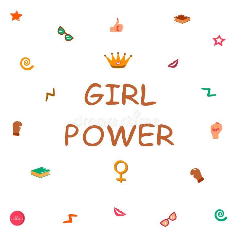 Puissance de fille Filles de soutien de filles illustration stock