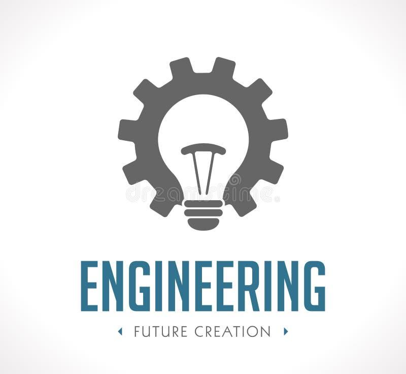 Puissance de logo de création - concept de vitesses de fonctionnement et d'ampoule illustration de vecteur
