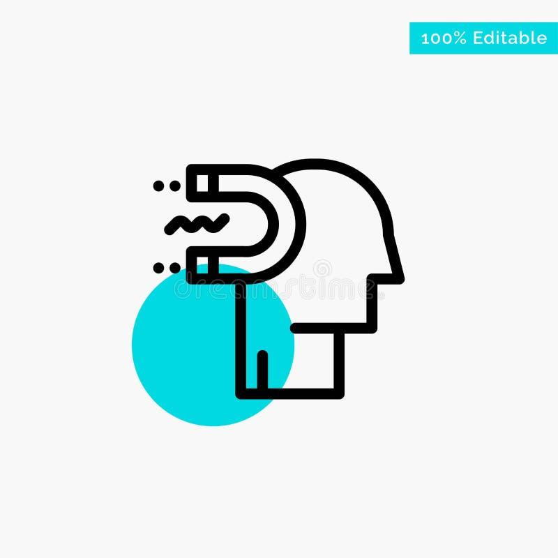Puissance, influence, engagement, humain, influence, icône de vecteur de point de cercle de point culminant de turquoise d'avance illustration stock