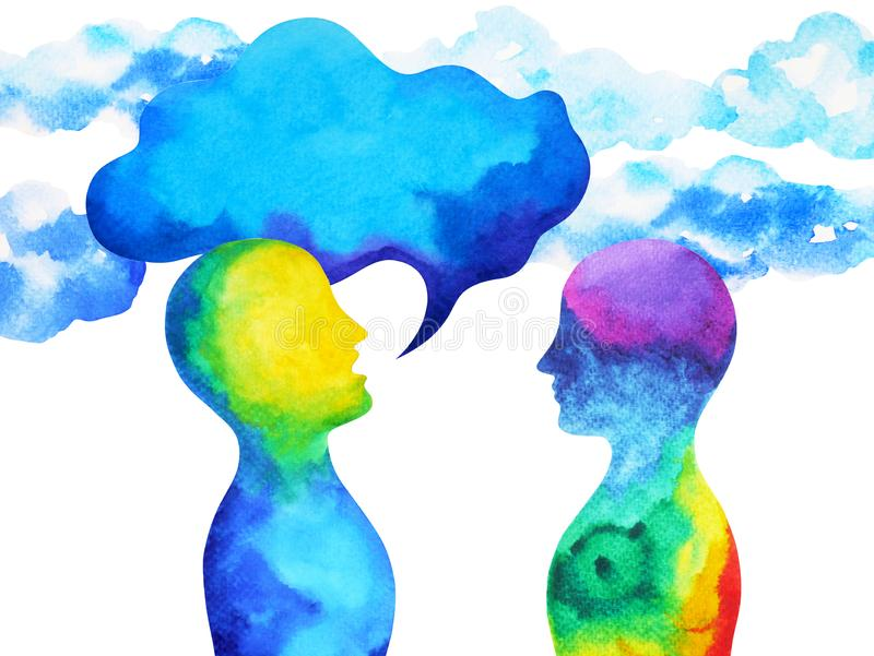 Puissance parlante et de écoute humaine de cerveau ensemble à l'intérieur de votre esprit, peinture d'aquarelle tirée par la main illustration de vecteur