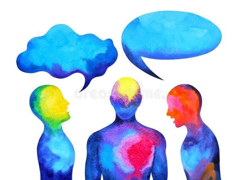 Puissance parlante et de écoute humaine de cerveau ensemble à l'intérieur de votre esprit, peinture d'aquarelle tirée par la main illustration libre de droits