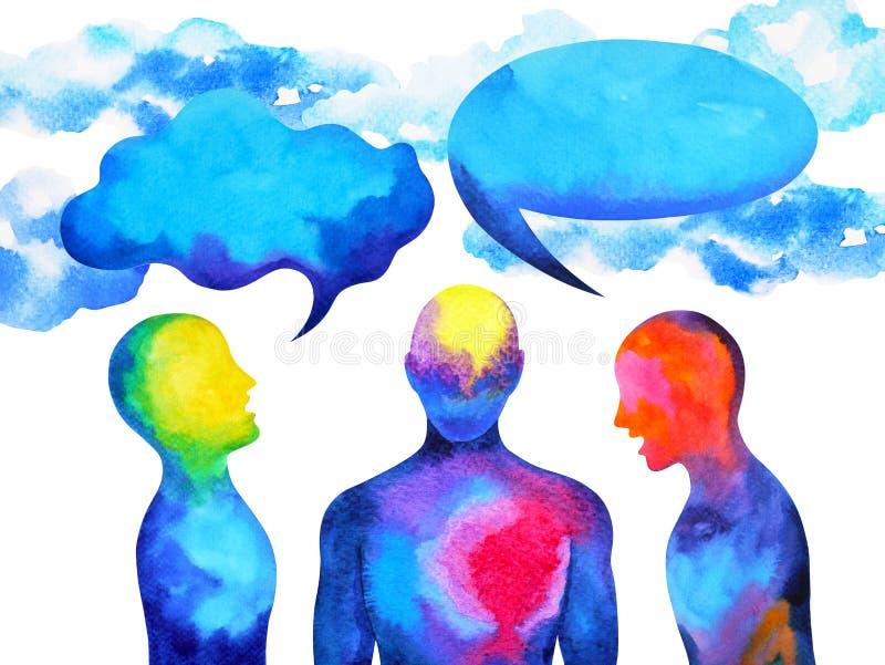 Puissance parlante et de écoute humaine de cerveau ensemble à l'intérieur de votre esprit, peinture d'aquarelle tirée par la main illustration stock