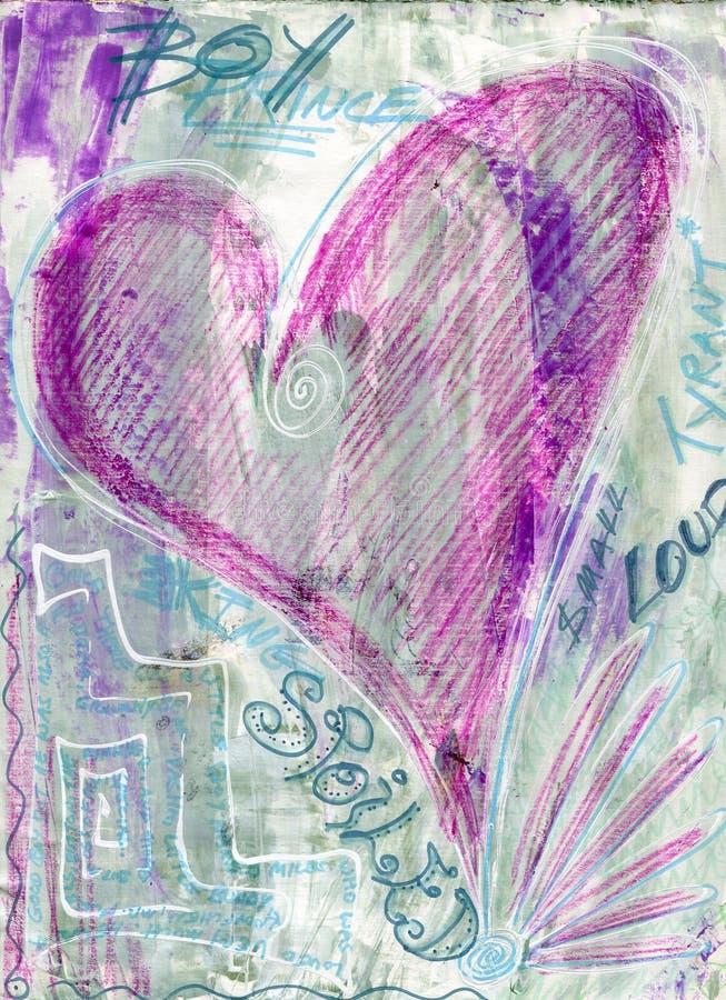 Puissance sauvage tirée par la main d'amour de coeur de graffiti corrompue illustration stock
