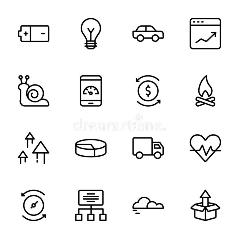 Puissance, vitesse, graphique, sprint, ligne ensemble d'icônes illustration stock