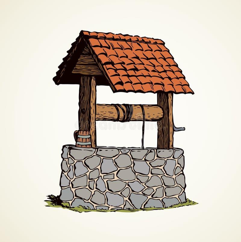 Puits antique Retrait de vecteur illustration libre de droits