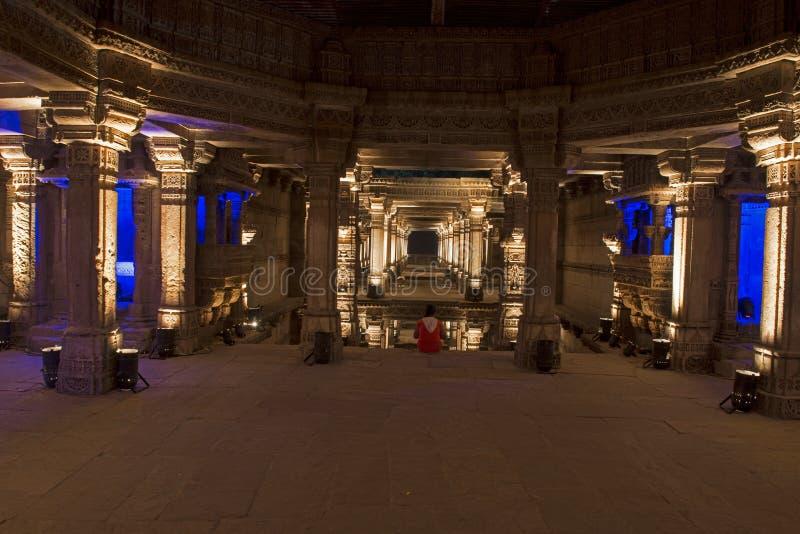 Puits d'étape d'Adalaj Ahmedabad, Goudjerate image stock